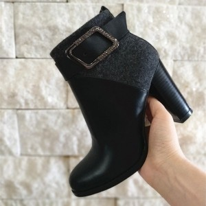 Black Joint Buckle Chunky Heel Ankle Booties For Women