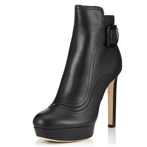 Black Joint Platform Boots Buckle Ankle Boots