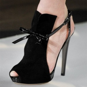 Black Key Hole Slingback Heels Platform Sandals with Bow