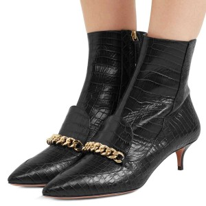 Black Kitten Heel Boots Pointy Toe Chains Ankle Booties