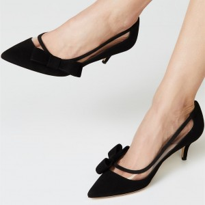 Black Kitten Heels Suede Clear PVC Bow Pumps
