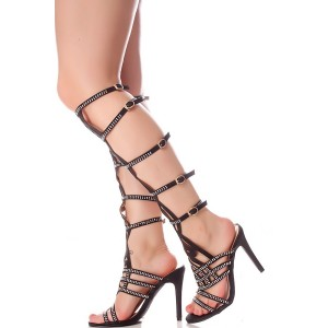 Black Knee-high Gladiator Heels Rhinestone Stilettos Summer Sandals