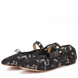 Black Lace Floral Mary Jane Shoes Round Toe Flats with Rivets