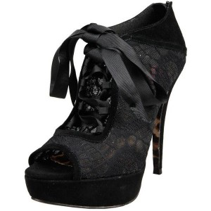 Black Lace Floral Peep Toe Platform Lace up Summer Boots for Women