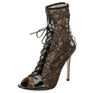Black Lace Peep Toe Lace Up Boots Stiletto Heel Ankle Boots