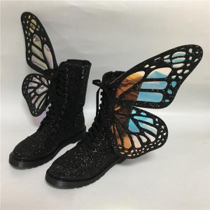 Black Lace up Boots Butterfly Glitter Clear PVC Ankle Boots