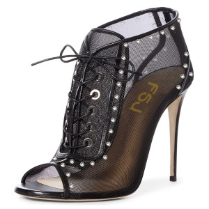 Black Lace Up Boots Nets Peep Toe Stiletto Heel Ankle Boots