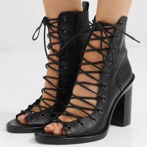 Black Lace Up Boots Peep Toe Chunky Heel Ankle Boots