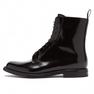 Black Lace Up Boots Round Toe Ankle Boots