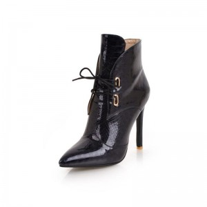 Black Lace up Boots Stiletto Heel Pointy Toe Ankle Boots