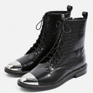 Black Lace Up Boots With Silver Toe