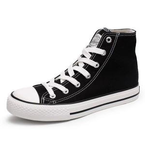 Black Lace up Canvas High Top Hui Li Sneakers