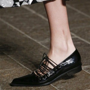 Black Lace up Flats Patent Leather Almond Toe Comfortable Flats