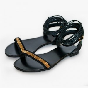 Black Strappy Sandals Knee High Flat Sandals