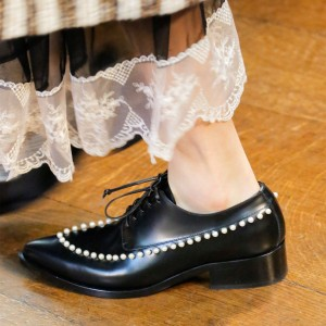 Black Lace Up Pearl Women's Oxfords