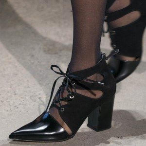 Black Lace Up Summer Boots Block Heel Pointy Toe Ankle Boots