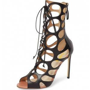 Black Lace up Sandals Hollow-out Peep Toe Stiletto Heels Summer Boots
