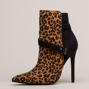 Black Leopard Print Boots Stiletto Heel Ankle boots