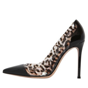 Black Leopard Print Heels Pointy Toe Stiletto Heels Clear Pumps
