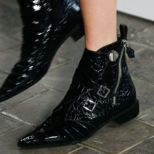 Black Lizard Skin Buckles Pointy Toe Side Zip Flat Ankle Boots