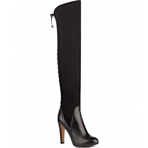 Black Long Boots Back Laced Chunky Heel Over-the-Knee Boots