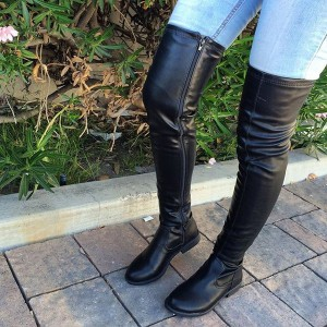 Black Long Boots Square Toe Over-the-Knee Boots Comfortable Shoes