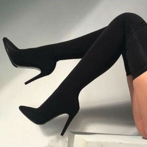 Black Lycra Thigh High Heel Boots Pointy Toe Stiletto Heel Boots