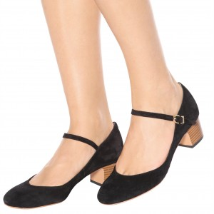 Black Mary Jane Chunky Heels Buckle Round Toe Pumps Suede Shoes