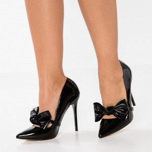 Black Mary Jane Pumps Pointy Toe Stiletto Heel Pump with Bow