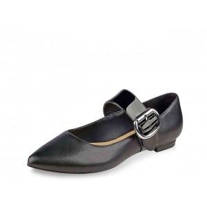 Black Mary Jane Shoes Buckles Pointy Toe Flats School Shoes