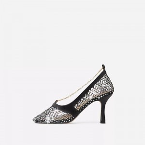 Black Nets Chain Rhinestone Heels Stiletto Heel Square Toe Pumps