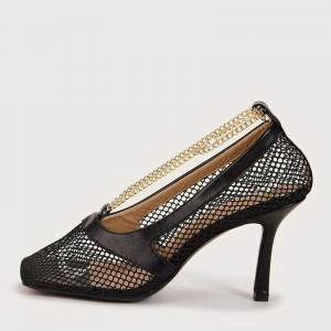 Black Nets Chain Stiletto Heels Square Toe Pumps