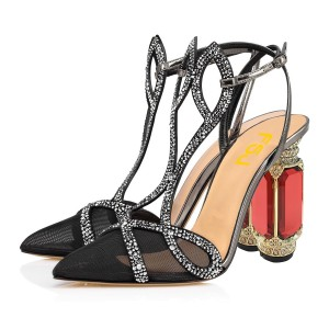 Black Mesh Rhinestone Evening Shoes Crystal Closed Toe Sandals