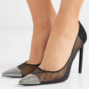 Black Mesh Rhinestones Stiletto Heels Pumps