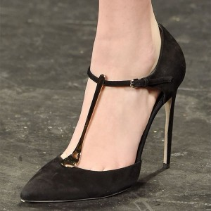 Black Metal T Strap Pumps Pointy Toe Stiletto Heels Office Shoes