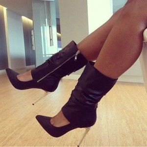 Black Slouch Boots Pointy Toe Stiletto Heel Mid Calf Booties for Women