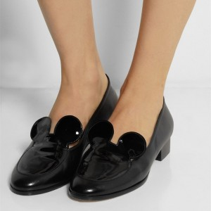 Black Mousey Patent Leather Loafers for Women