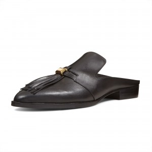 Black Casual Loafer Mules Comfy Round Toe Flat Loafers for Women