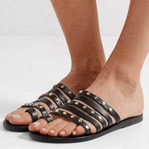 Black Multi Straps Studs Women's Slide Sandals