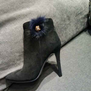 Black Suede Ankle Booties Pointy Toe Fur Embellishment Stiletto Heels