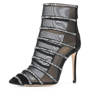 Black Nets Rhinestones Pointed Toe Stiletto Boots Ankle Boots