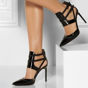 Black Office Heels Patent Leather Pointy Toe Stiletto Heel Pumps