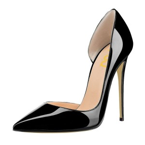Black Office Heels Patent Leather Pointy Toe Stiletto Heels Pumps