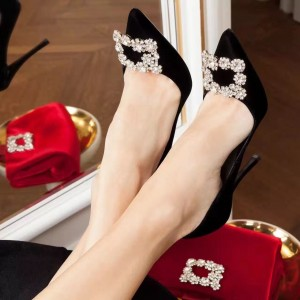 Black Prom Shoes Rhinestone Buckle Embellished Pointy Toe Dressy Pumps