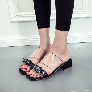 Black Open Toe Flower Block Heels Clear Mule Sandals