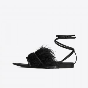 Black Open Toe Fur Summer Sandals Comfortable Flats Strappy Sandals