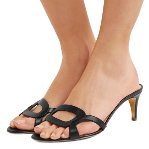 Black Open Toe Kitten Heels Mules