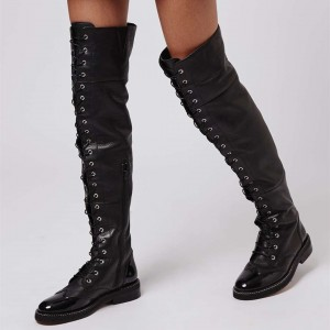 Black Over-the-Knee Flat Lace up Boots Round Toe Long Boots