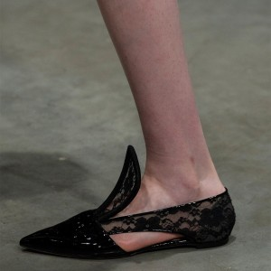 Black Patent Leather and Lace Comfortable Flats