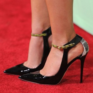 Black Stiletto Heels Pointy Toe Python Pumps for Ladies
